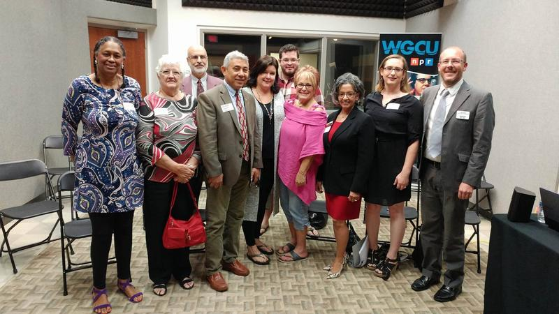 Guests (from left): Martha Bireda, Dorris Cortese, Mohammad Al-Darsani, Leonardo Garcia, incoming Gulf Coast Live host Julie Glenn, Alex Pilkington, Arlene Goldberg, Carmen S. Salome, Emma Bansley, Gulf Coast Live host John Davis.