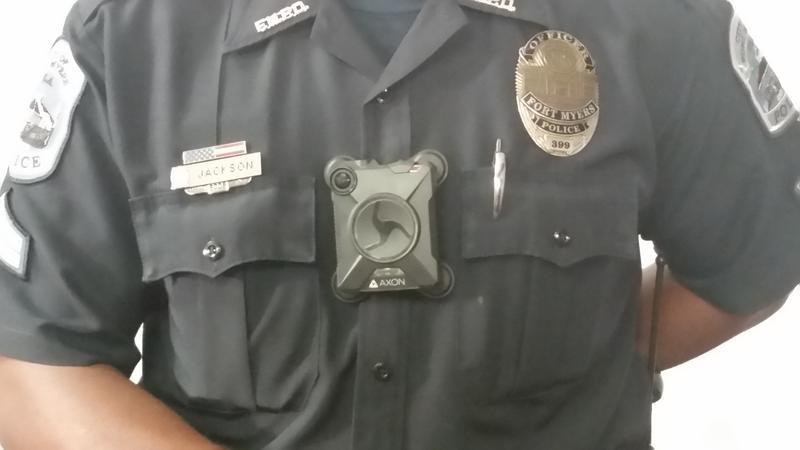 FMPD Officer Jason Jackson dons the 'Axon 2' Body Camera