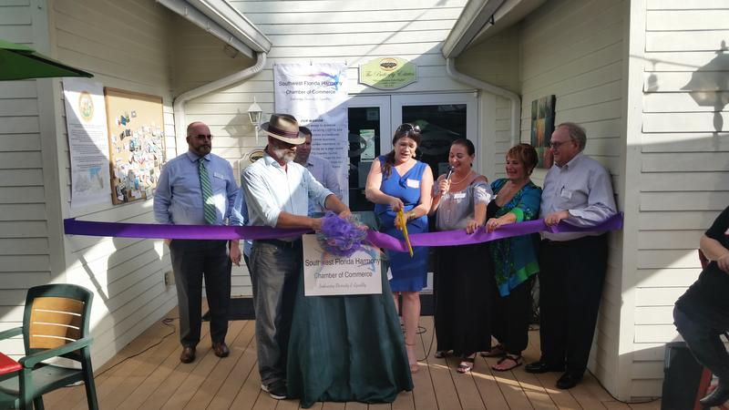 Harmony Chamber members Cut Ribbon: from left, Ollie Gentry, Scott Cornish, Mary Elizabeth Fletcher, President Susan Christiano, Co-founder Arlene Goldberg