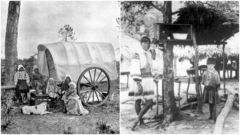Left, a family living out of a covered wagon, 1895; right, Seminole Indians at Big Cypress Seminole Indian Reservation, early 1900s.