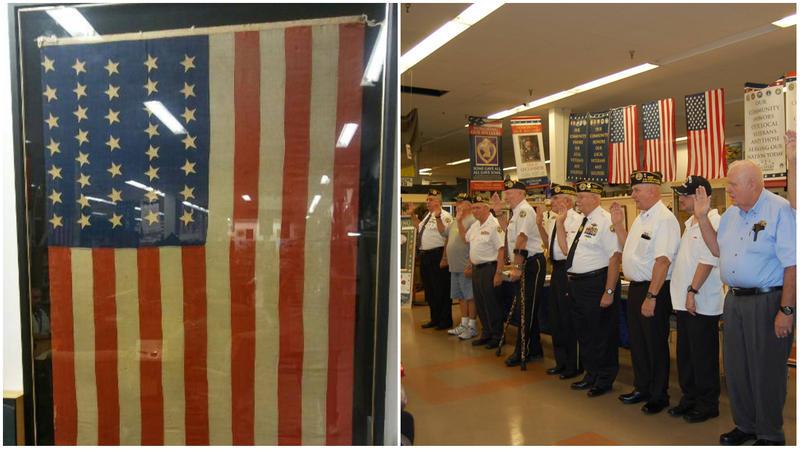 Veterans welcome the new flag at Wednesday's Flag Day event at the Military Museum and Library of Southwest Florida