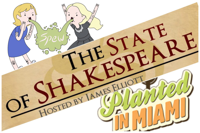 Florida-made podcasts, from left: SPEW in Fort Myers, The State of Shakespeare from Fort Myers/New York City, and Planted in Miami from Miami
