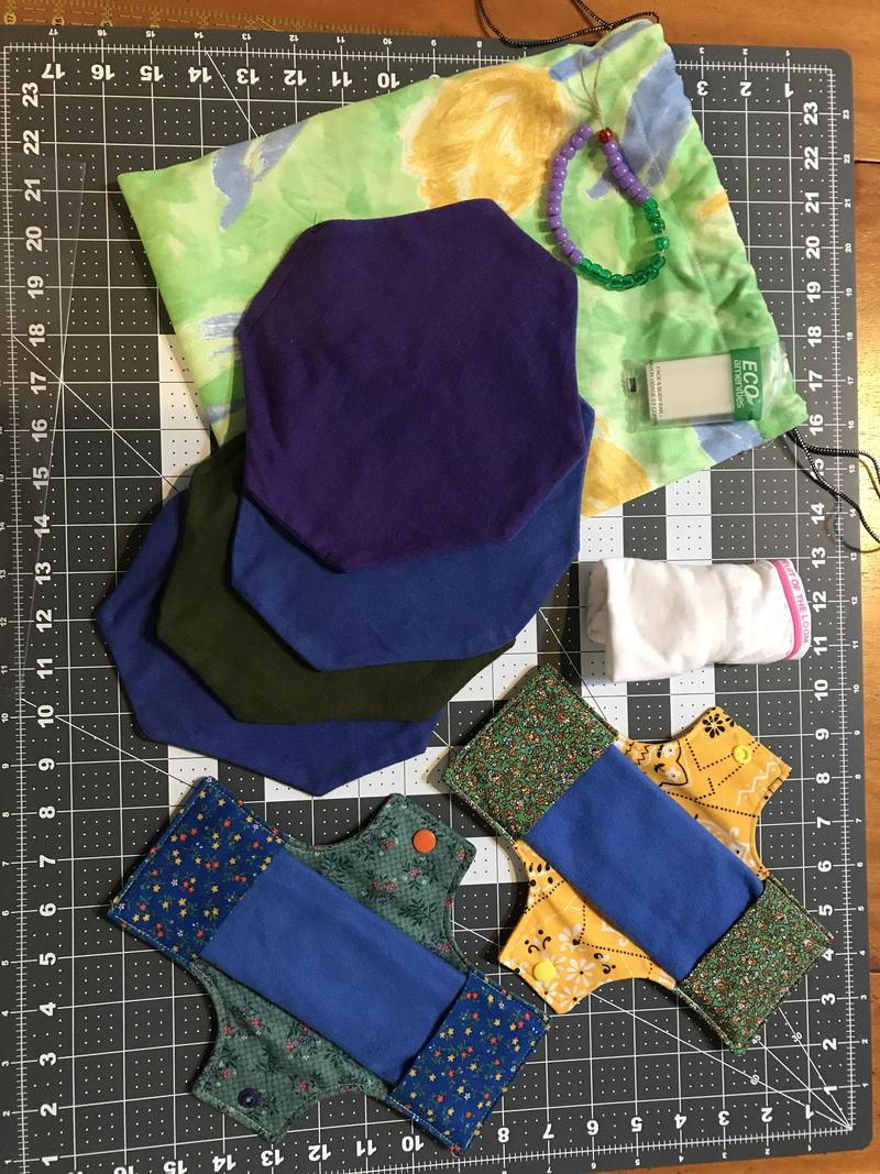 This is what's inside a full kit that Fort Myers women are making and distributing in Guatamala. It's a cloth bag that holds cotton shields, flannel pads, underwear, soap and a hand-made beaded bracelet to help women keep track of their periods.