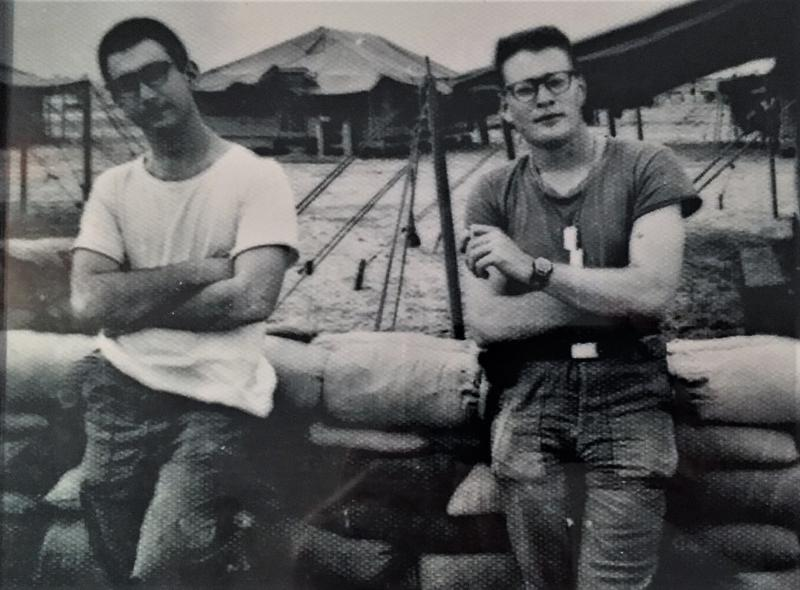 Michael Hirsh, right, with fellow Army combat correspondent David Kleinberg relaxing at the newly-built headquarters of the 2nd Brigade 25th Infantry Division at Cu Chi, Vietnam in April 1966.
