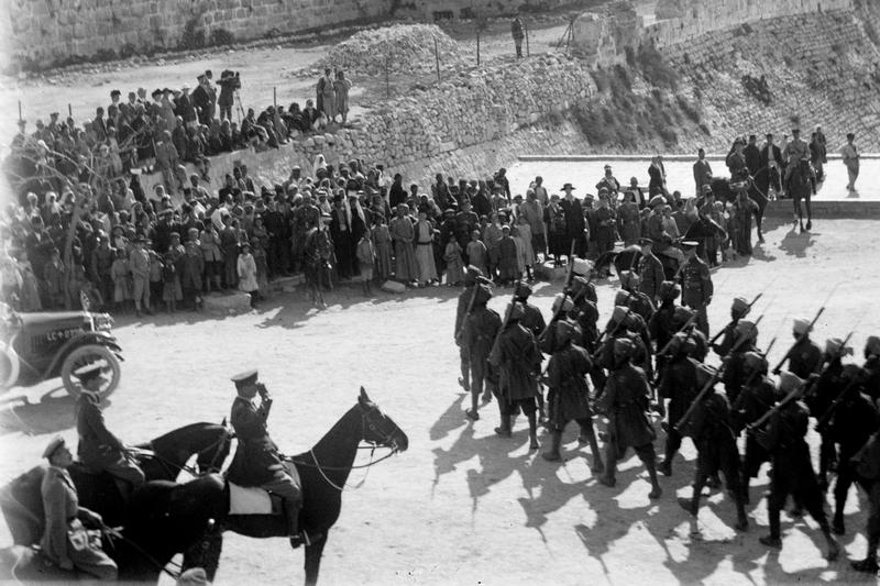 British troops on parade at Jaffa Gate during the capture and occupation of Palestine in December 1917.
