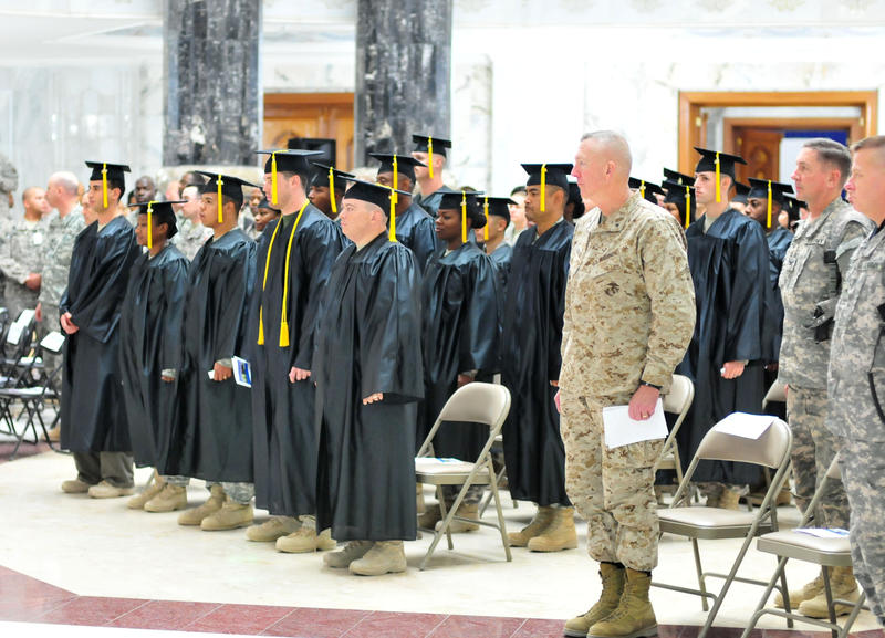 Servicemembers at a graduation