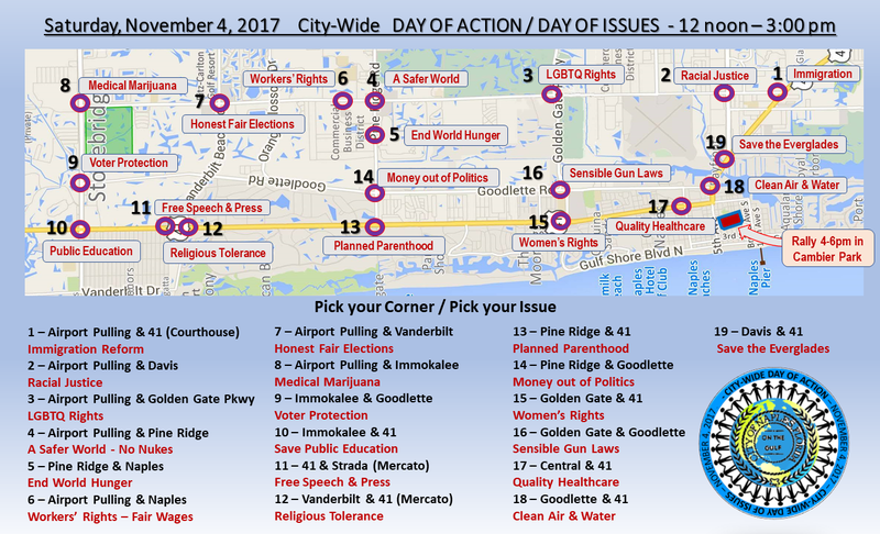 A map of the 19 demonstration locations.