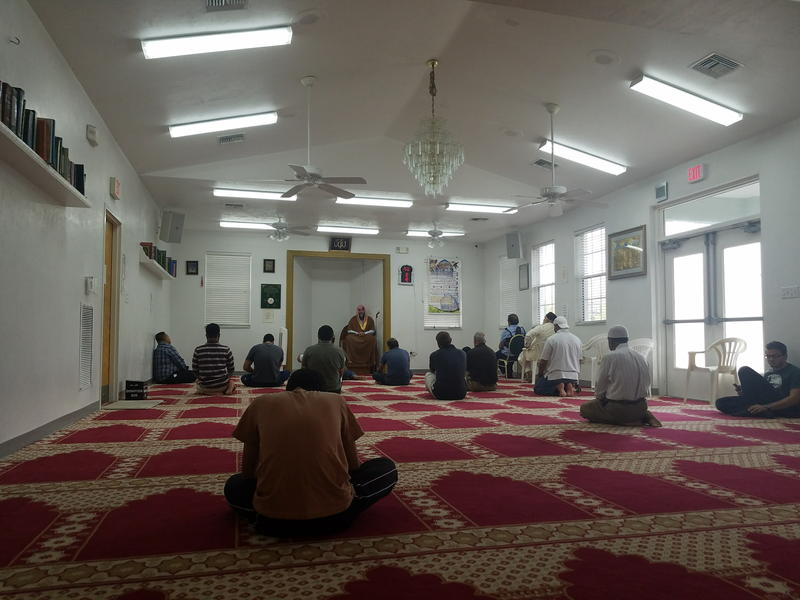 Worshippers pray at the Islamic Society of Southwest Florida.