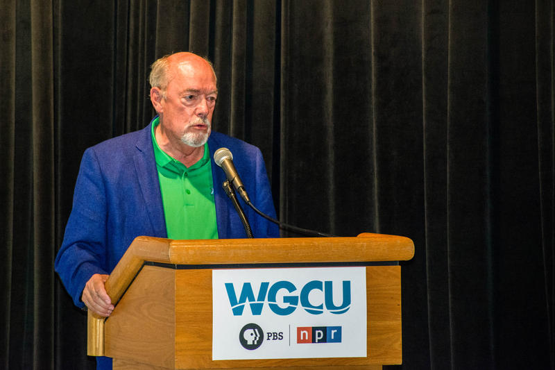 "FGCU President Mike Martin speaks at the premiere of WGCU's documentary, ""FGCU at 20: The Beginning,"" on Aug. 17."