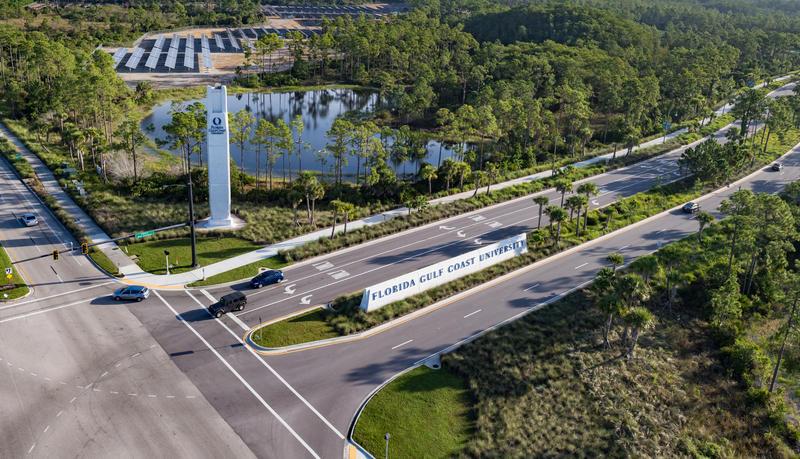 The entrance to Florida Gulf Coast University