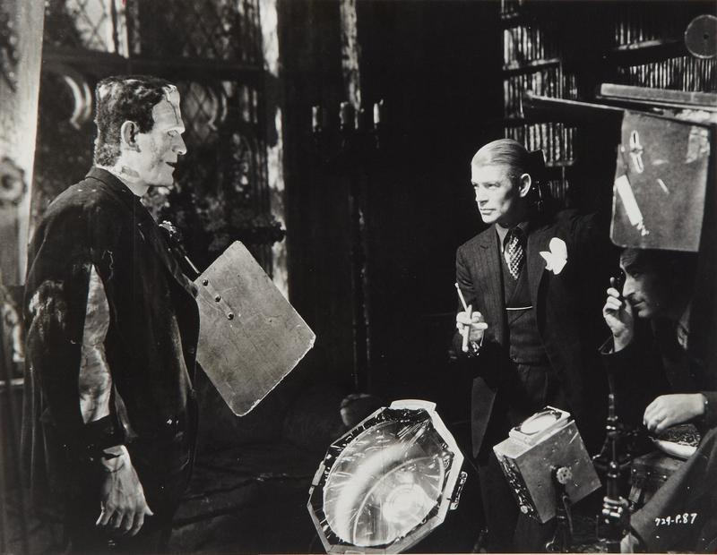 Boris Karloff, director James Whale, and cinematographer John J. Mescall on set of Bride of Frankenstein (1935)