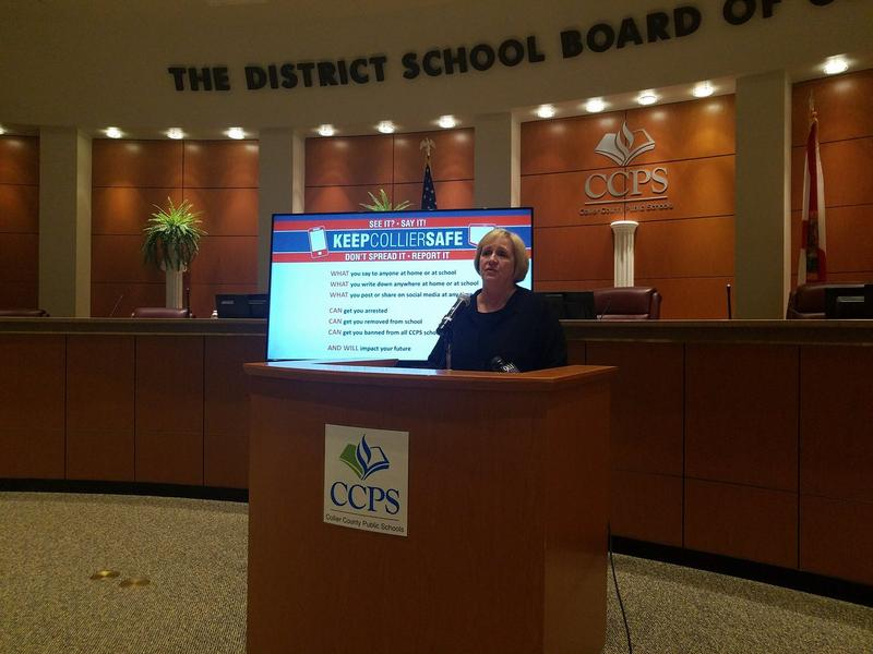 Collier County Public Schools Superintendent Kamela Patton holds a press conference about rumored threats targeting schools.