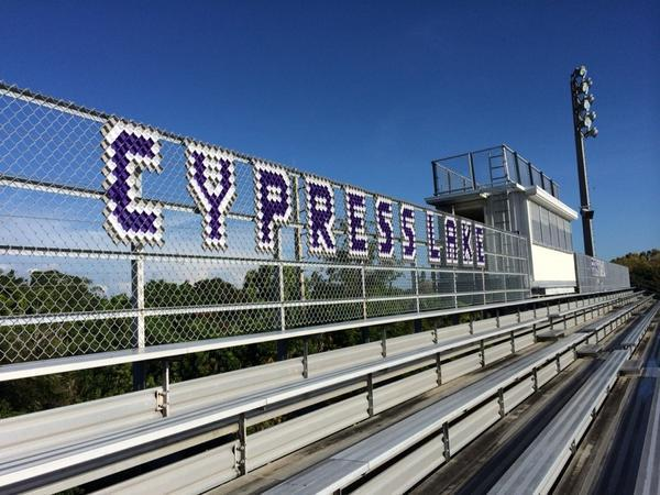 Bleachers on the campus of Cypress Lake High School in Fort Myers