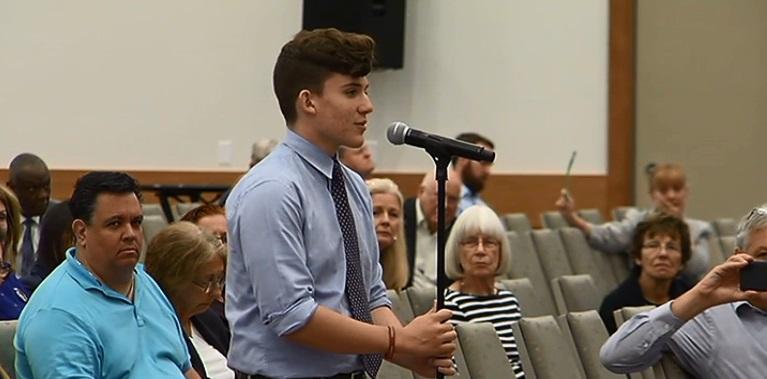 Marjory Stoneman Douglas High School mass shooting survivor addressing the CRC in Cape Coral.