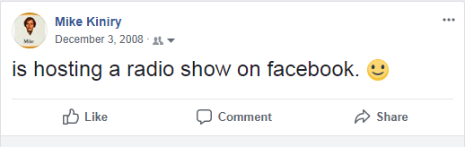 Facebook Post Made During the 2008 Show