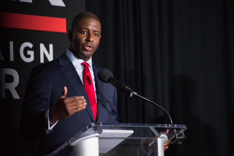 Tallahassee Mayor Andrew Gillum tells the crowd, like the other candidates on stage, he supports a reservoir south of Lake Okeechobee, but he is also concerned about the 50,000 citizens living in the surrounding areas.