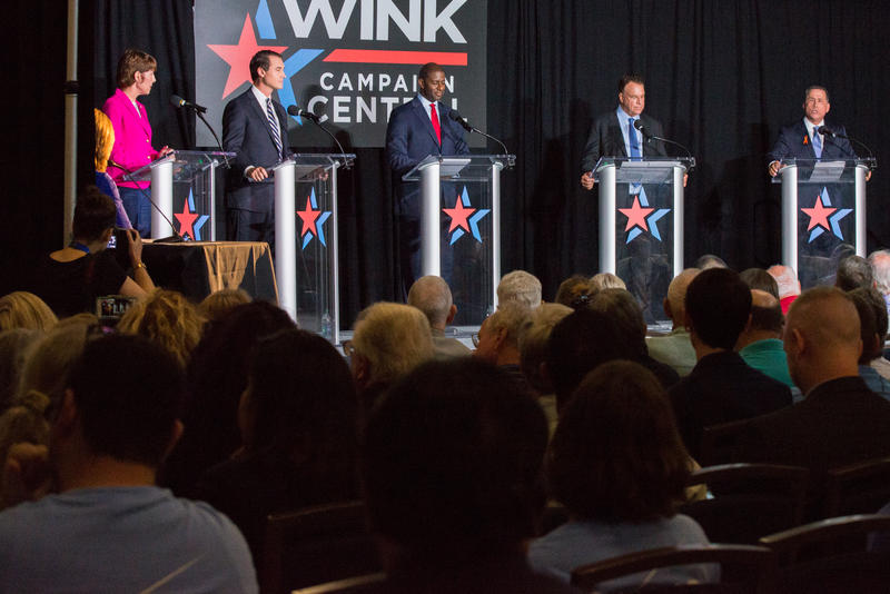 Florida Democratic Gubernatorial candidates (from left) Gwen Graham, Chris King, Andrew Gillum, Jeff Greene and Philip Levine