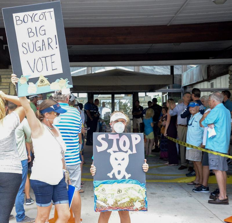 Cape Coral resident S'iva Goodman hoists a sign outside of the Cape Coral Yacht Club beside her 11-year-old daughter, Shelby, who is also carrying a sign protesting the U.S. Army Corps of Engineers and symbolically wearing a surgical mask.