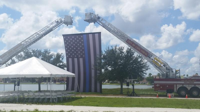 The site of post-funeral services for FMPD Officer Adam Jobbers-Miller at Germain Arena