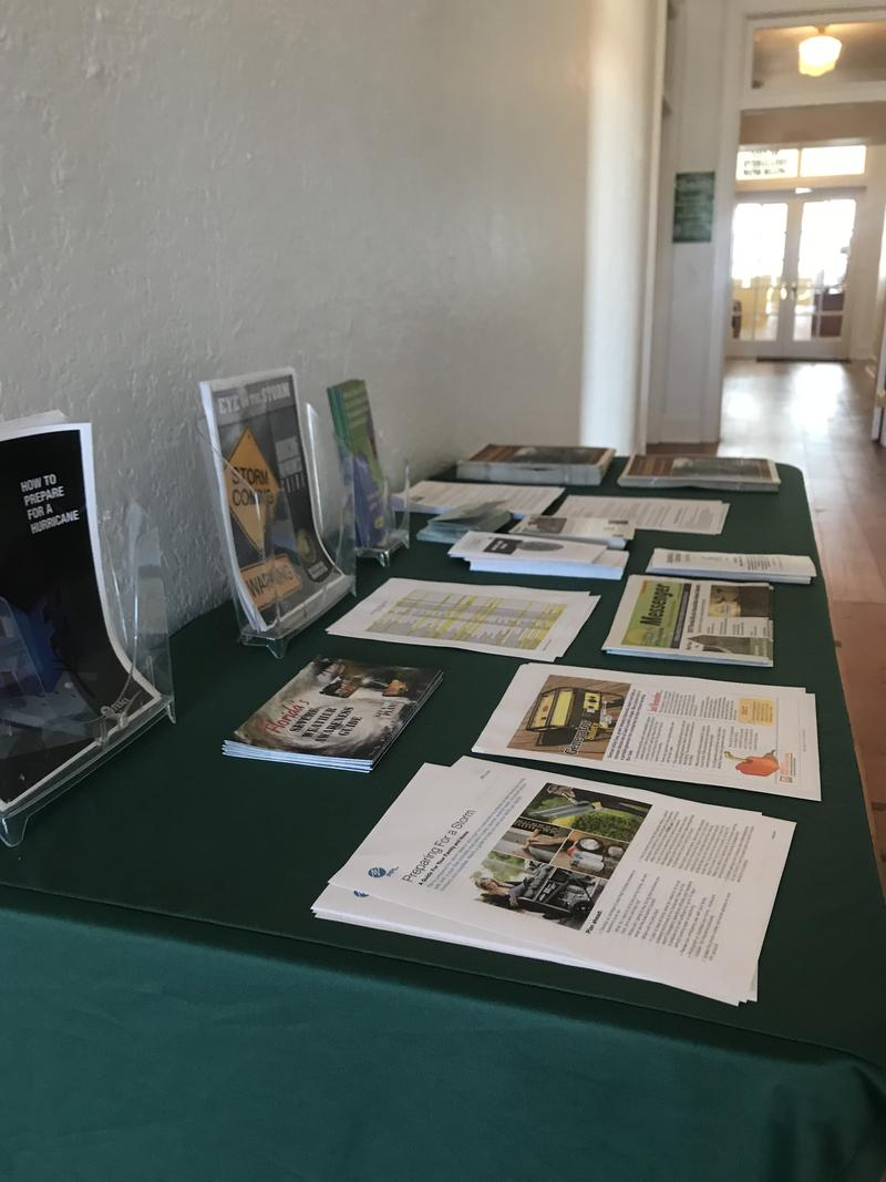 Inside Everglades City Hall, Hurricane Prep Pamphlets are on Offer