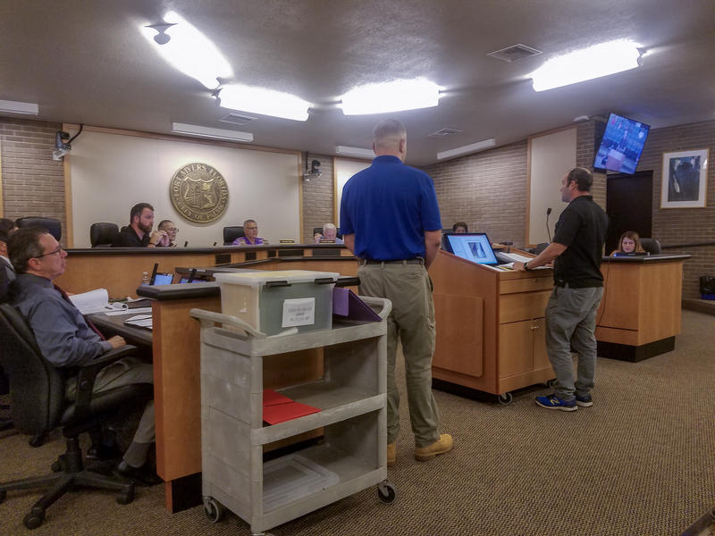 The regional manager of Treetop Development, Naftali Levenbrown, speaks to the city Code Enforcement Board during a special meeting to decide fines for outstanding code violations for the Jones Walker apartment complex.