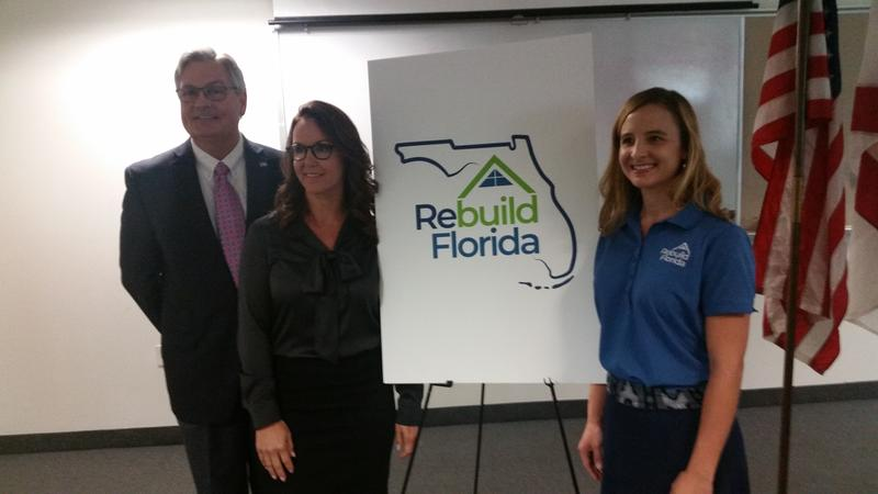 Ft. Myers Mayor Randy Henderson (right), Sen. Lizbeth Benacquisto (middle) and DEO Deputy Chief of Staff Erin Gillespie at the launch of the Ft. Myers Rebuild Florida center