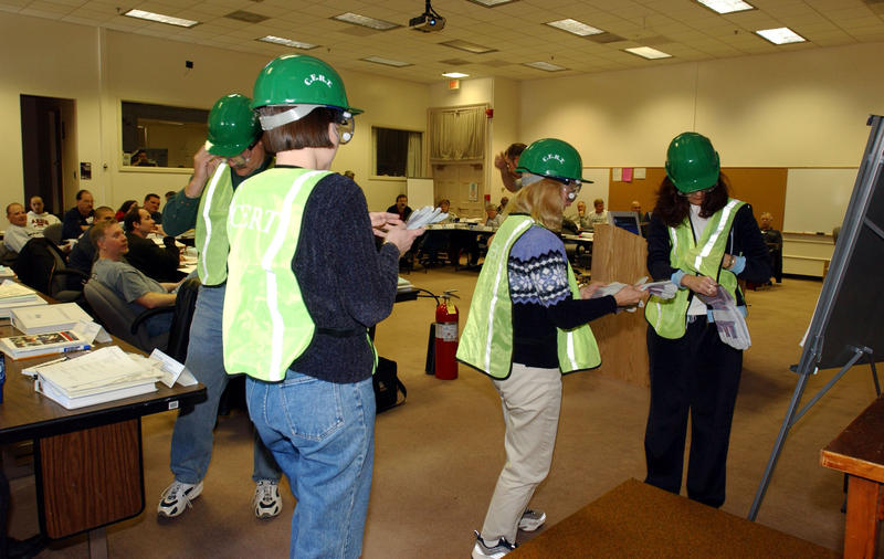 CERT Volunteers Trying on Equipment