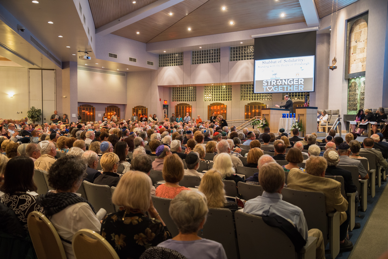 Not a seat is left unfilled at Temple Shalom's solidarity service on Friday, Nov. 2.