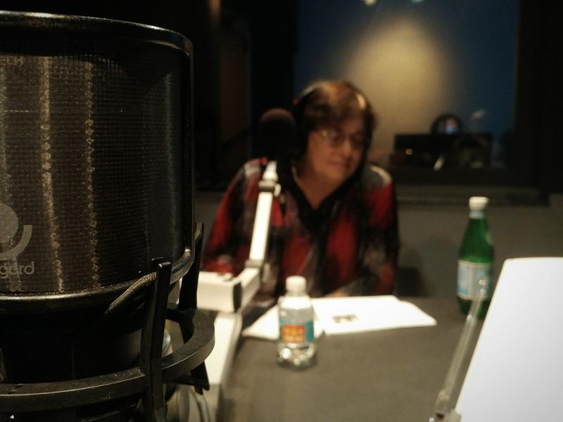 Karen Feldman listening to one of her three songs during the recording.