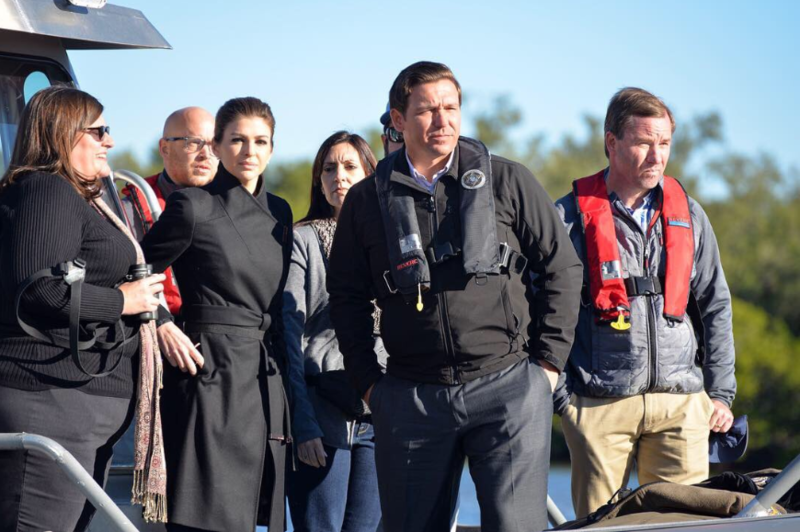 DeSantis during a tour of Little Hickory Bay