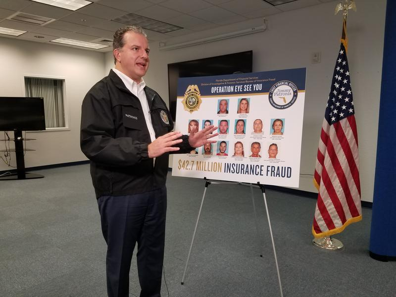 Florida's Chief Financial Officer and State Fire Marshal, Jimmy Patronis, speaks about a health insurance fraud investigation in Fort Myers on Feb. 6.