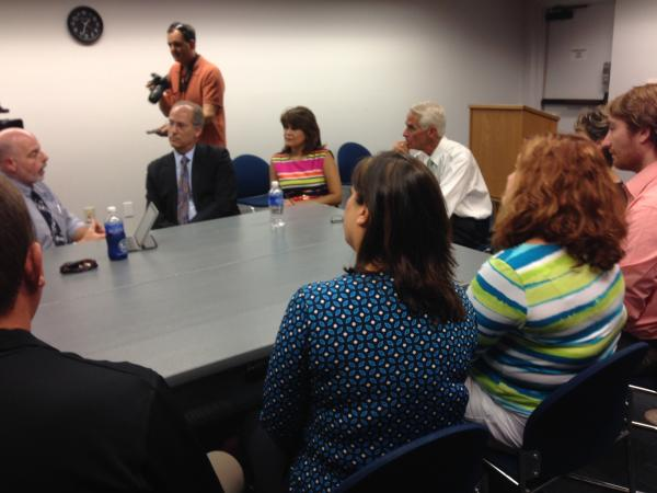 Charlie Crist in a round table discussion with Fort Myers teachers.