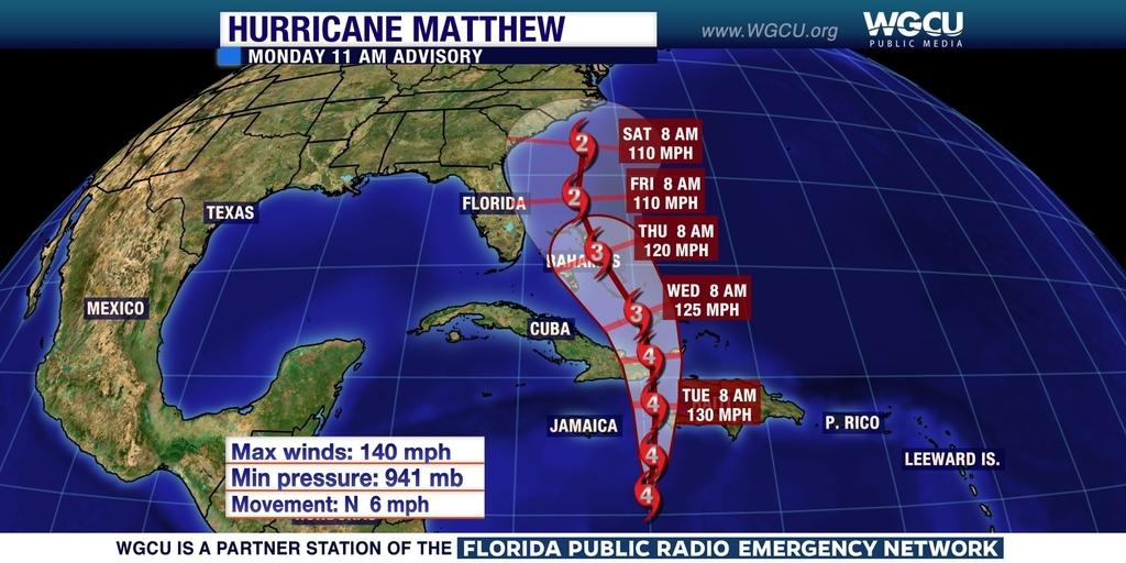 Hurricane Matthew To Move Over Haiti Dominican Republic Later Today Wgcu News