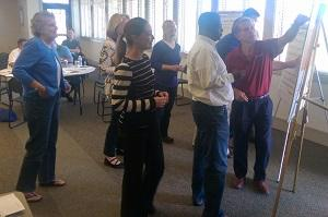 Bloomington city staff and aldermen meet during city retreat Sat. Sept. 12, 2015