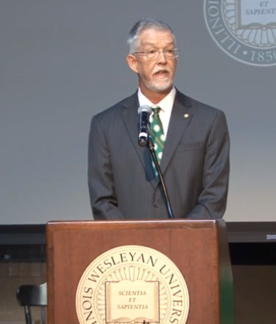 New IWU President Eric Jensen is introduced at campus news conference, Monday Sept. 14, 2015