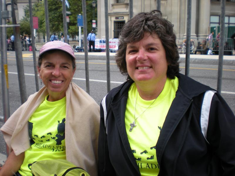 Cathy Bilow (left), Susan Crumrine on parade route