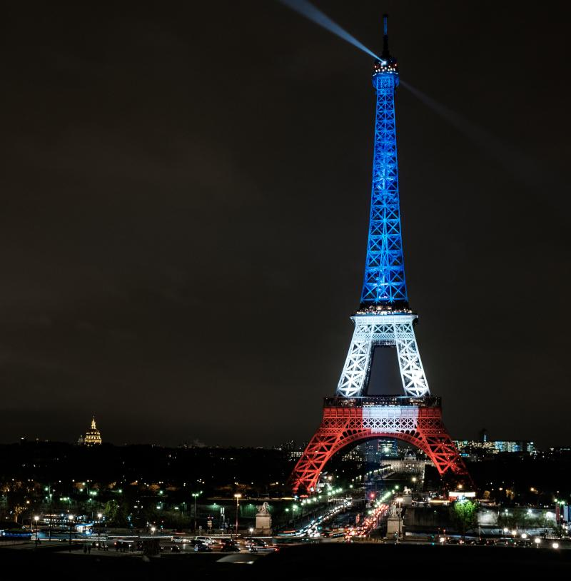 The Eiffel Tower, illuminated with the colors of the French flag following terror attacks on Friday.