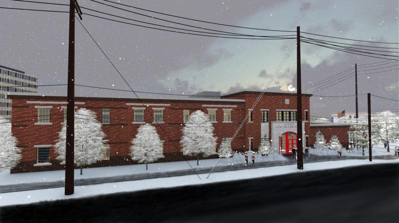 A winter view of the planned fire station, looking toward southeast.