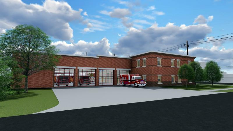 Rendering of planned fire station, looking from Dale St. toward the Southwest