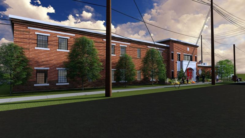 Architect rendering looking from toward the northwest at the planned Town of Normal fire station headquarters from Osage Street.