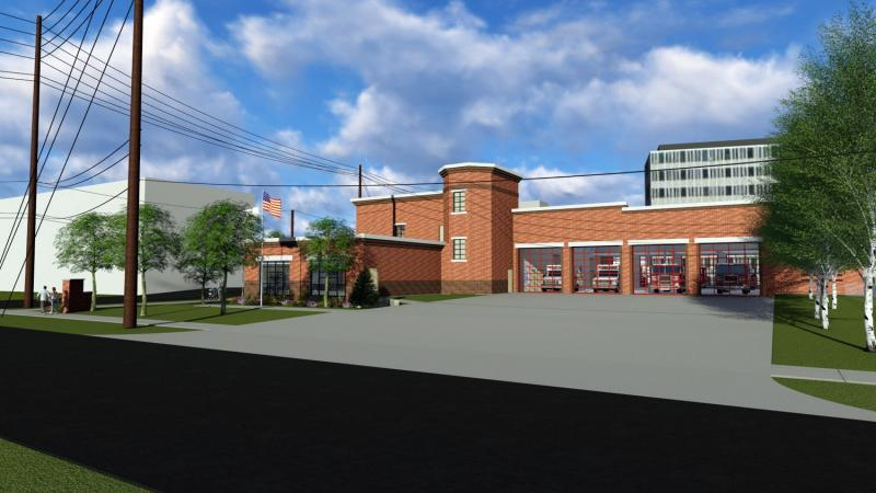 A view toward the northwest, near Main and Osage in Normal, of a rendering of a planned new fire station.