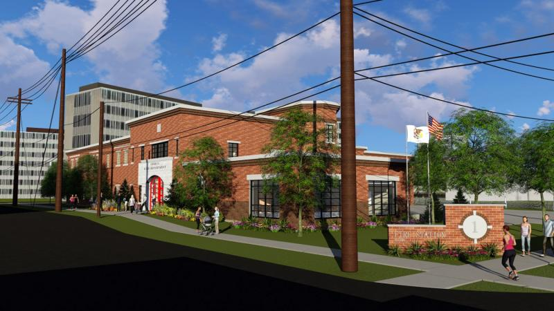 Rendering looking northeast between near Dale and Main toward a planned town fire station