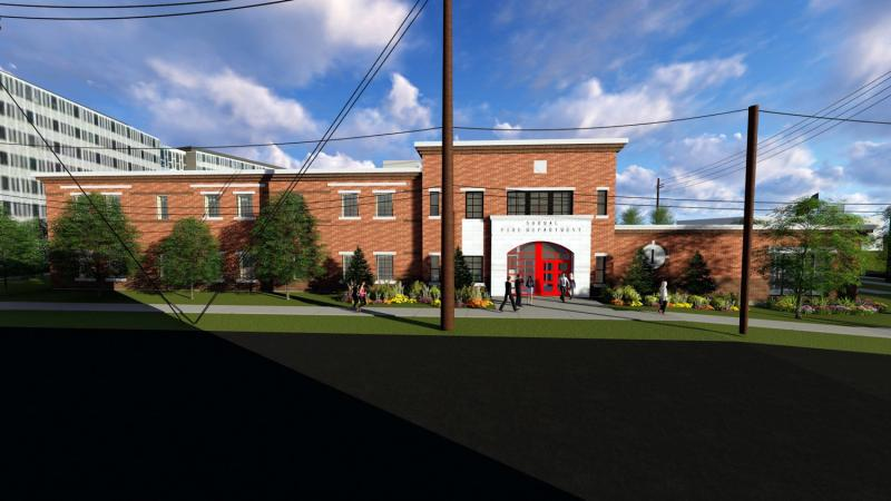 Rendering looking east between Osage and Dale on Main toward planned town fire station