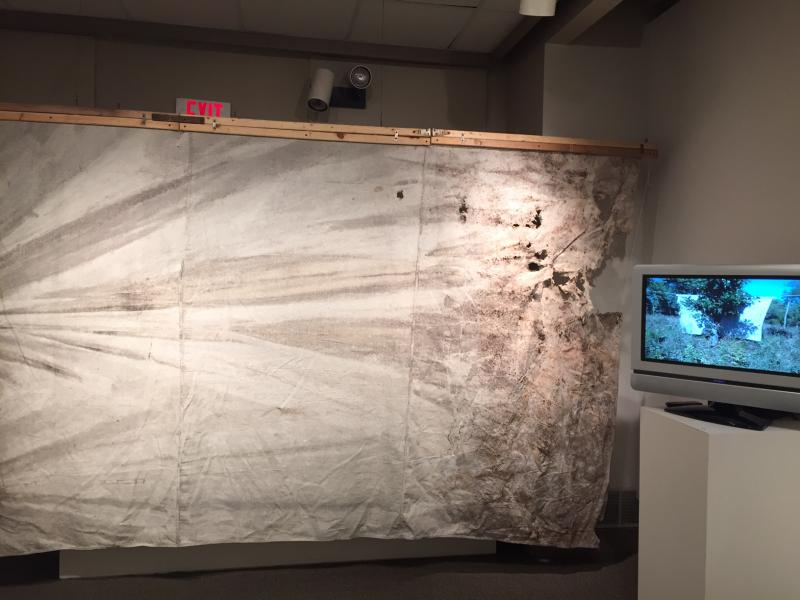Full view of material in video installation