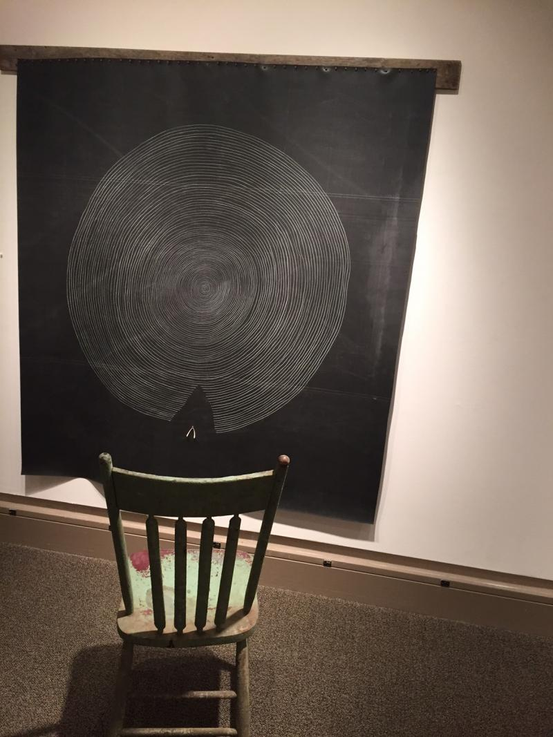 The chair invites a chance for dialog between art and viewer.