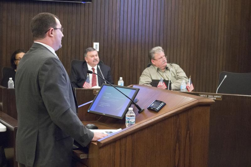 Director of Water Bob Yehl presents the study update to the Bloomington City Council. Also pictured: Alderman Kevin Lower (center) and Alderman David Sage (right).