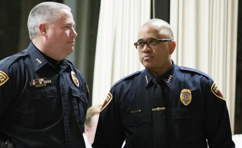 Bloomington Police Chief Brendan Heffner, right, at a recent council meeting.