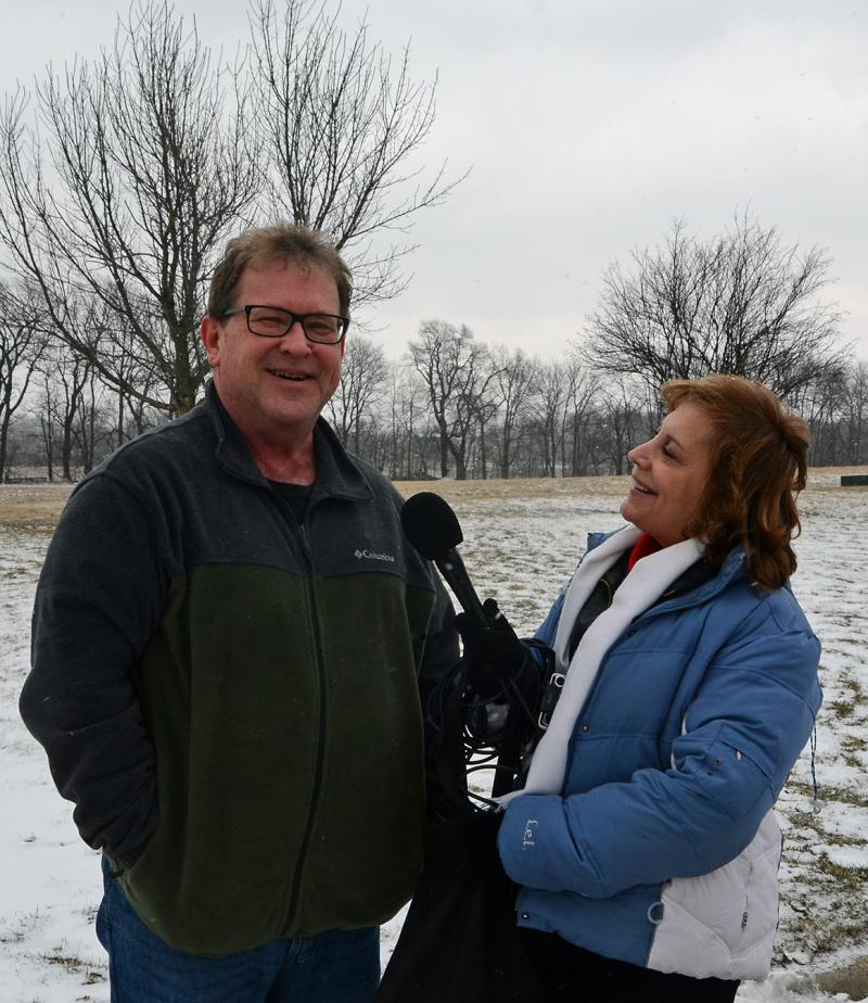 GLT's Judy Valente with avid bird watcher Tim Lindenbaum, who has seen only five or six snowy owls in his lifetime..