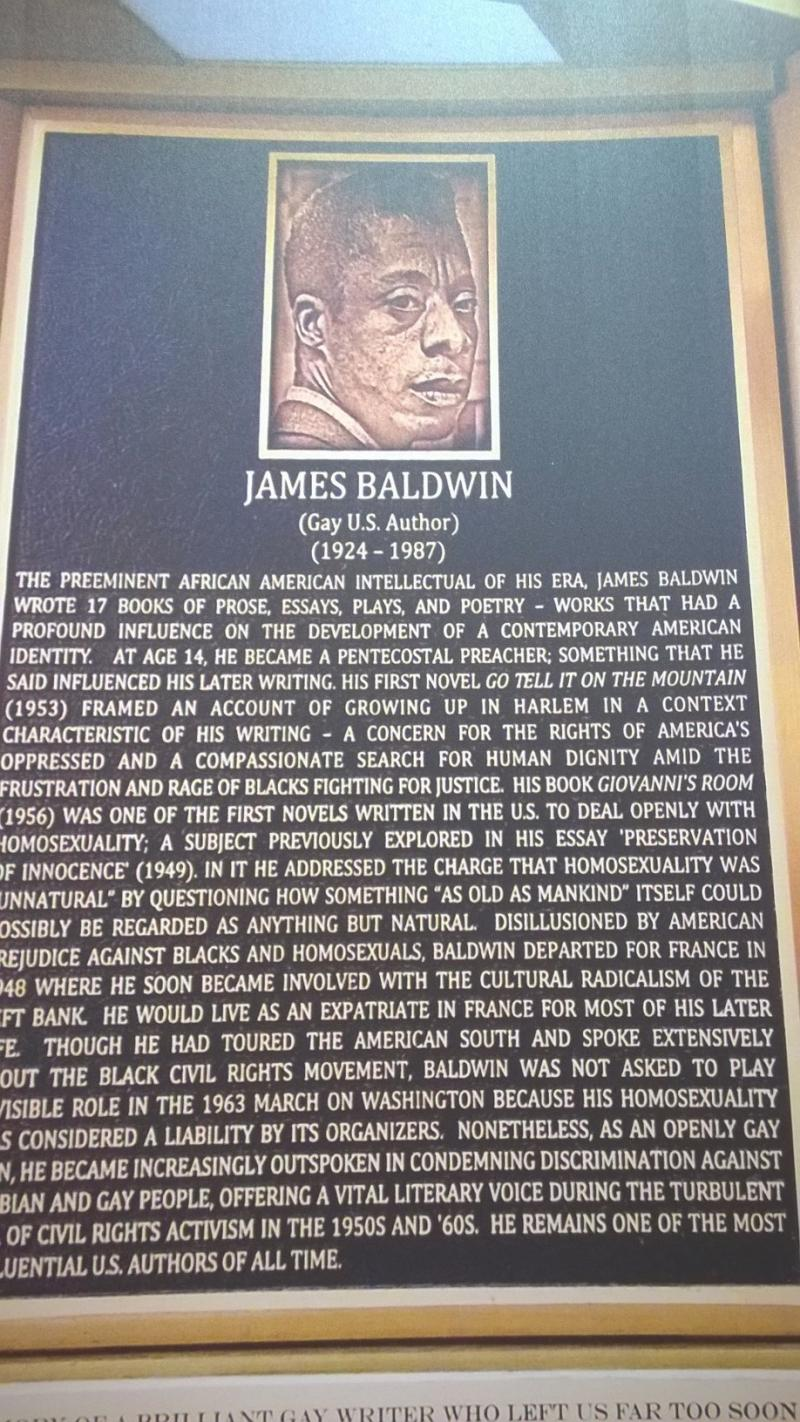 Panels like this one, on writer James Baldwin, tell the story of LGBT contributions on The Legacy Project exhibit..