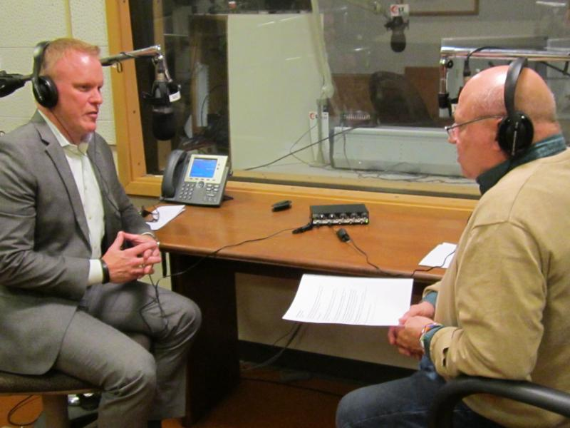 Connect Transit's Andrew Johnson (left) is interviewed by GLT's Willis Kern